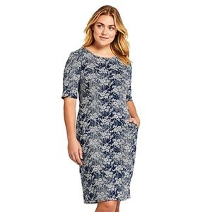 Lands End | Blue White Textured Knit Dress POCKETS